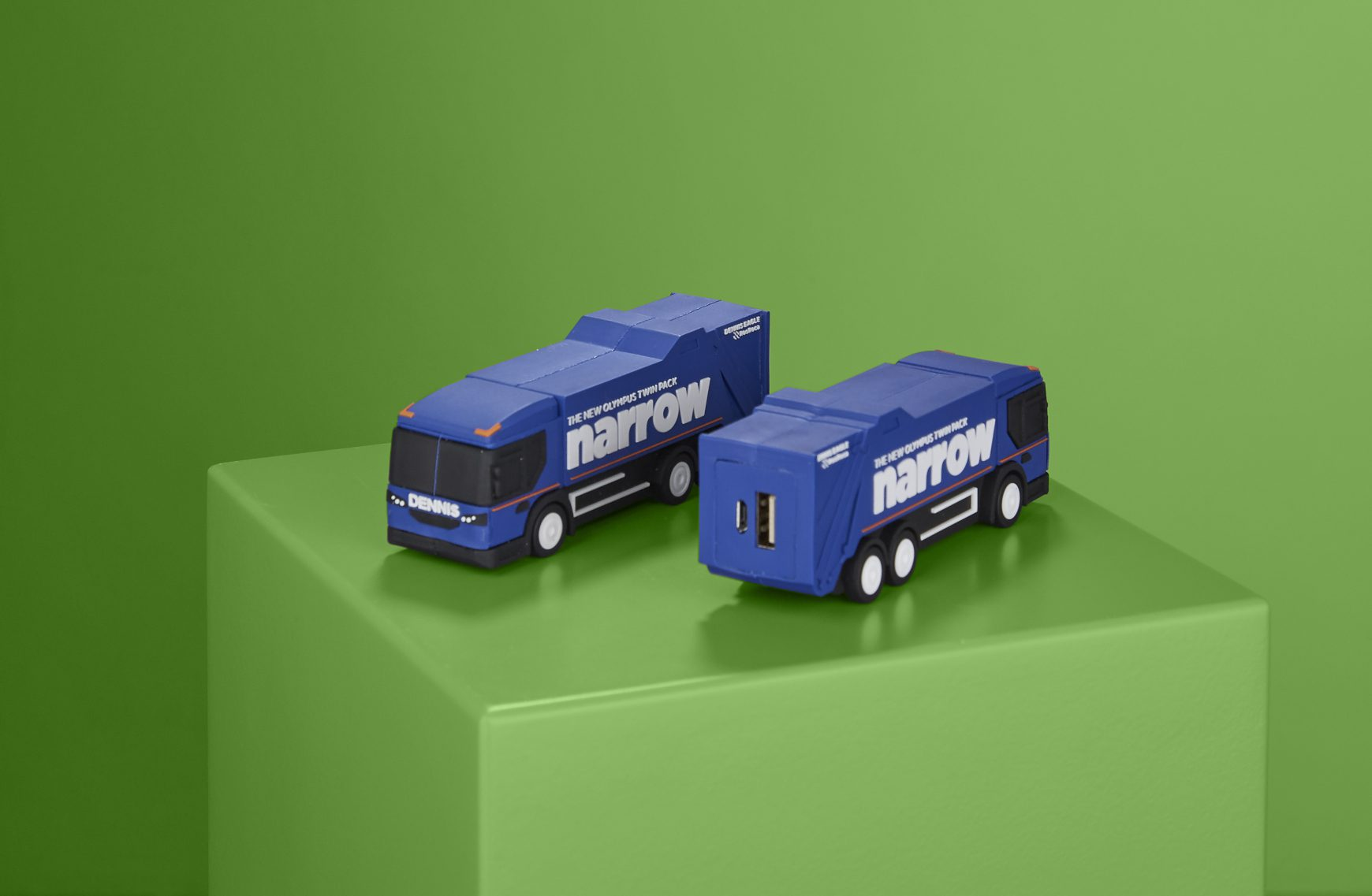 USB drives moulded into lorries.
