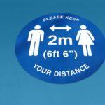 Social distancing floor sticker.
