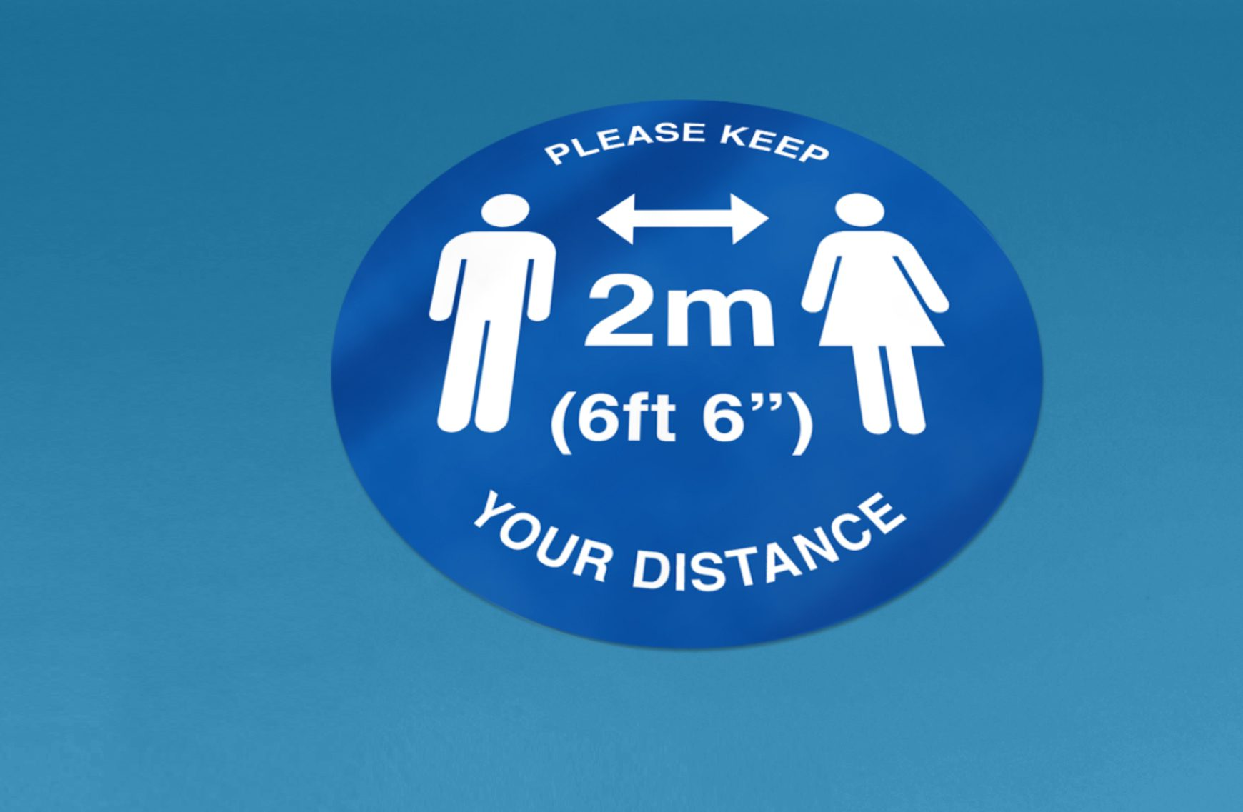 Social distancing floor sticker.