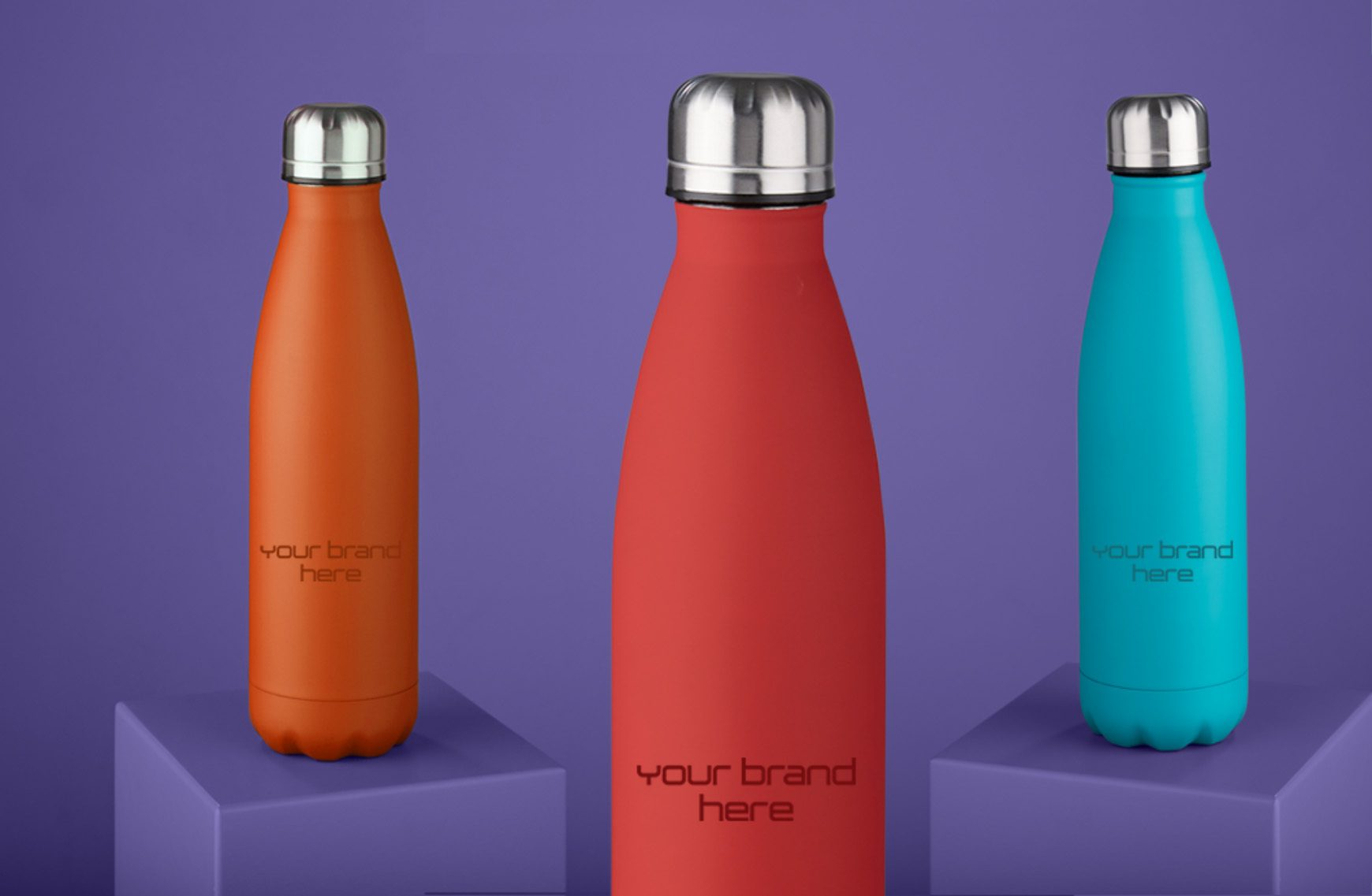 3 branded thermal bottles in different colours
