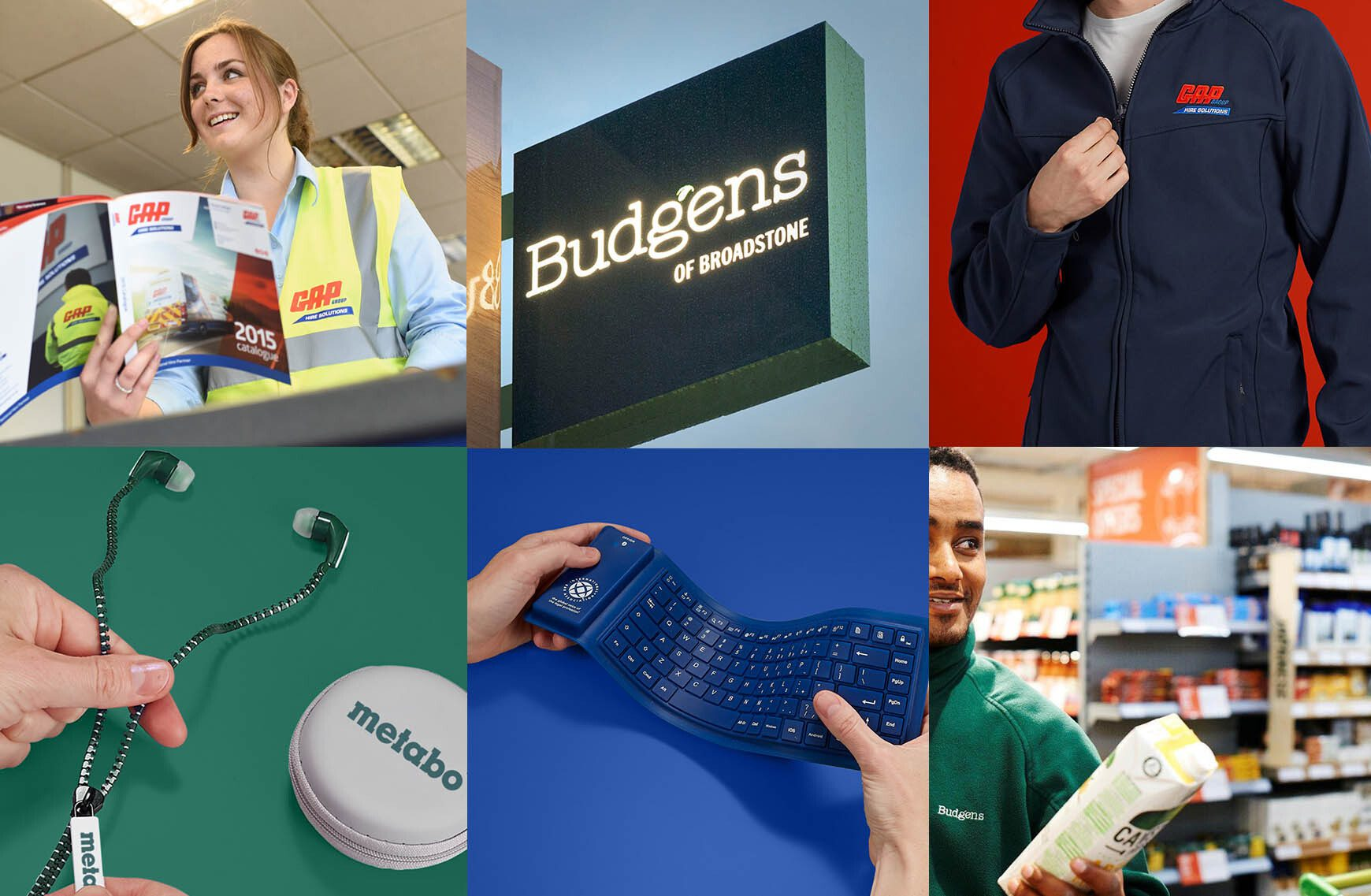 Collage of various images of branded merchandise