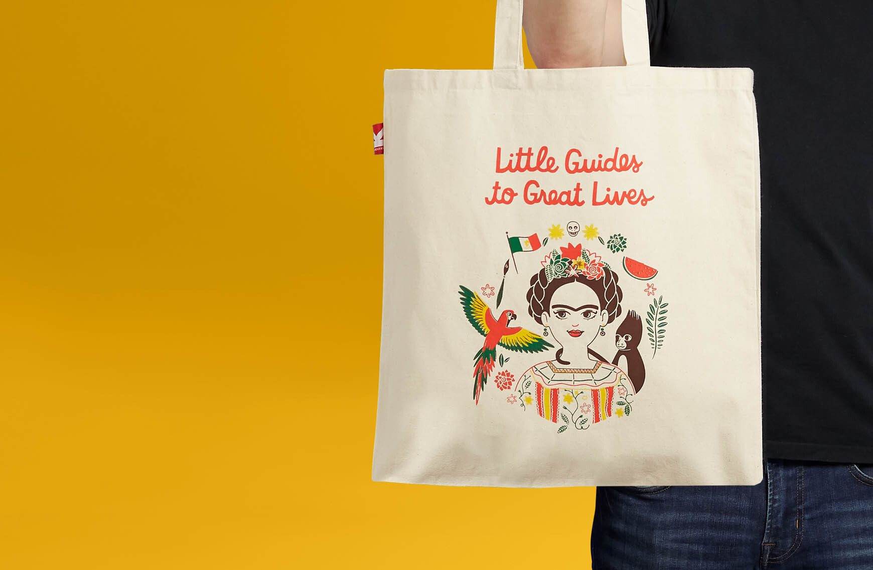 Tote bag with writing and image printed on it