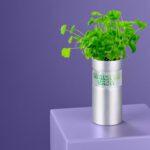 Sustainable plant pot on plinth