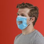 Man wearing ppe face mask