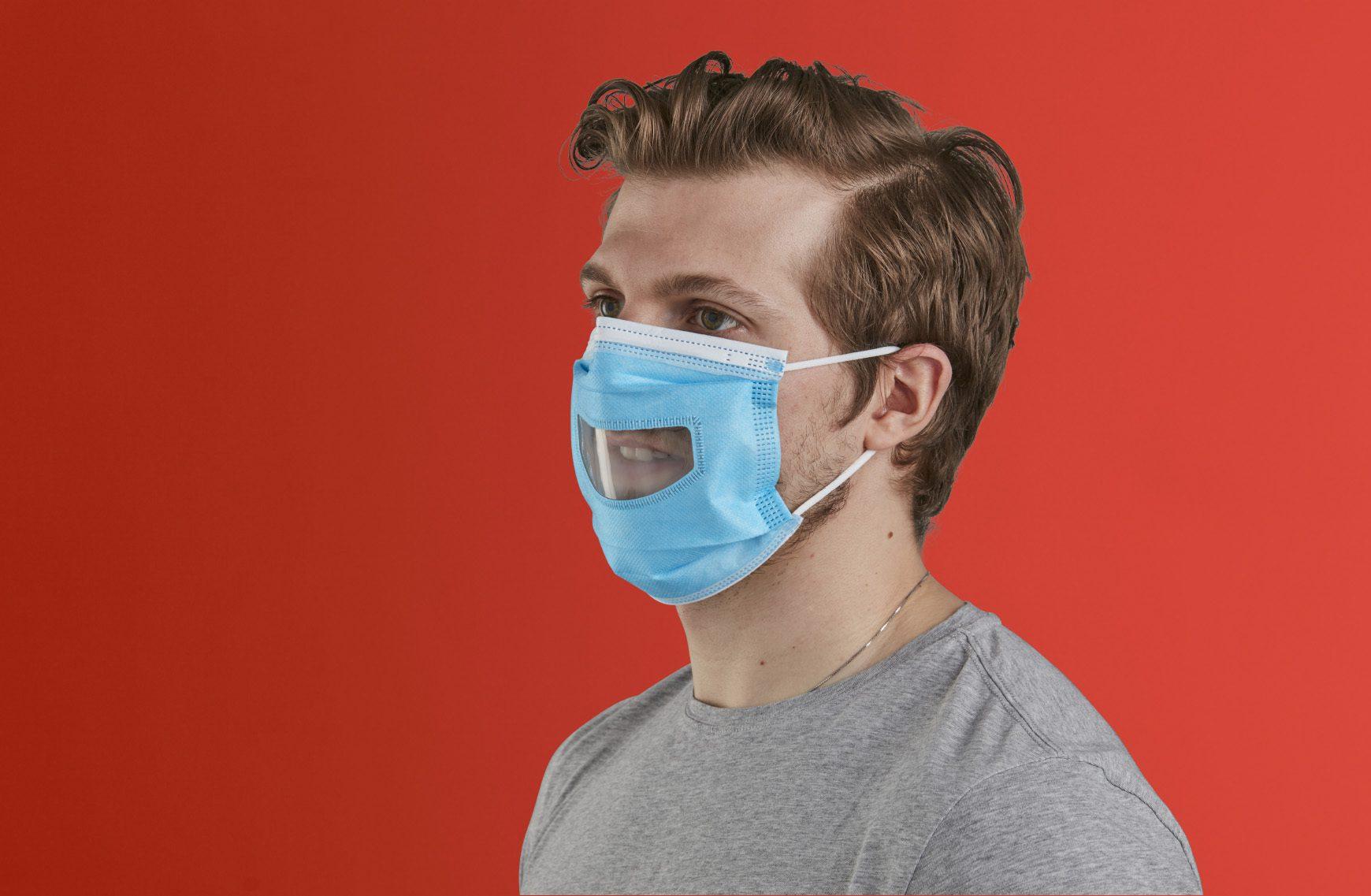 Man wearing ppe face mask