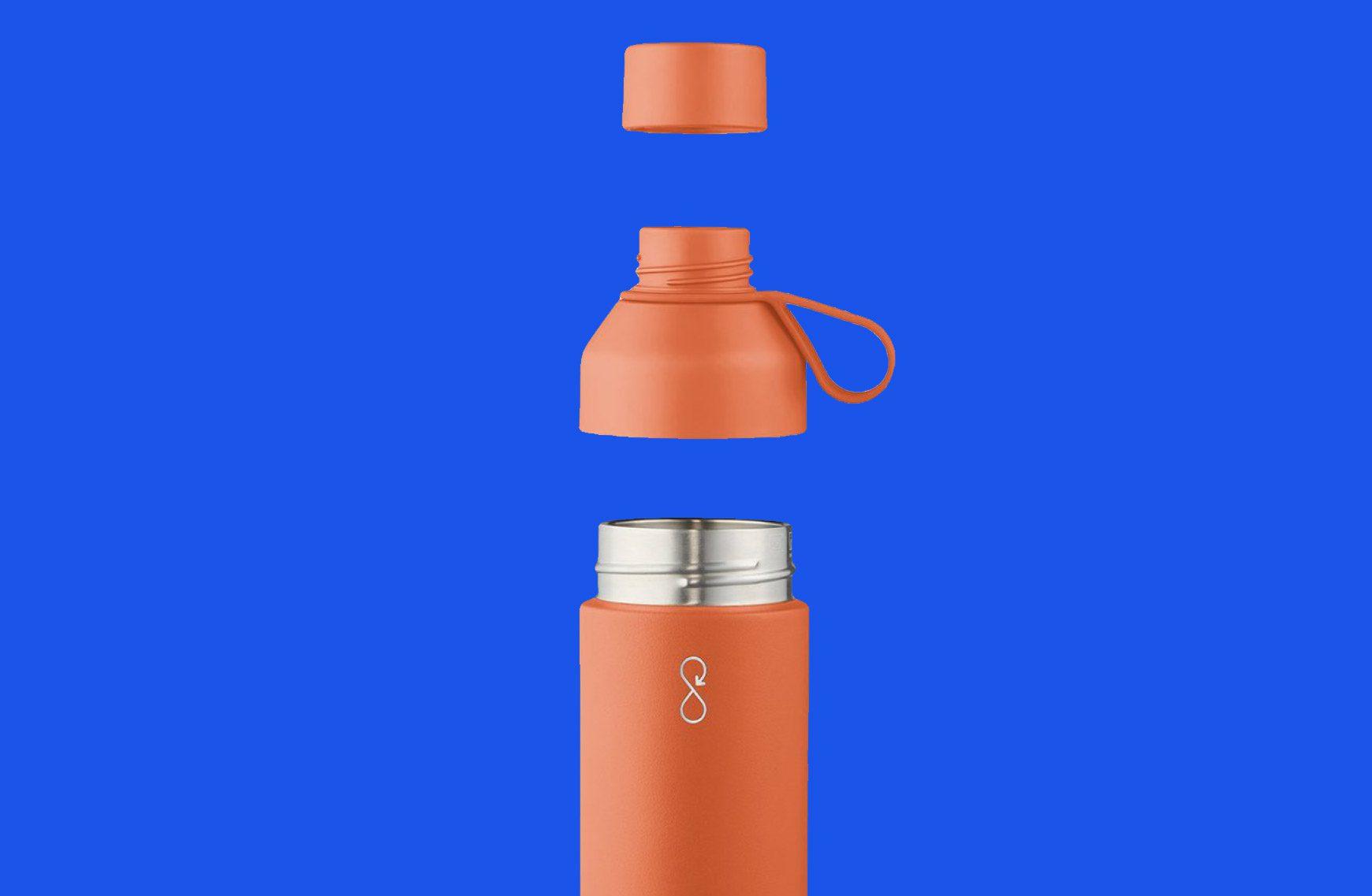 Image of branded spill proof bottle against blue background